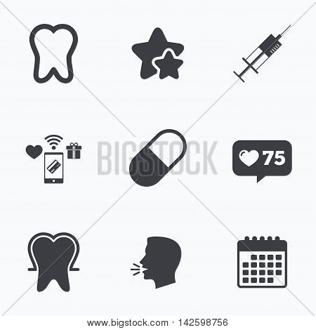 Tooth enamel protection icons. Medical syringe and pill signs. Medicine injection symbol. Flat talking head, calendar icons. Stars, like counter icons. Vector