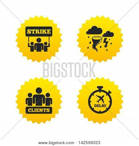 Strike icon. Storm bad weather and group of people signs. Delayed flight symbol. Yellow stars labels with flat icons. Vector
