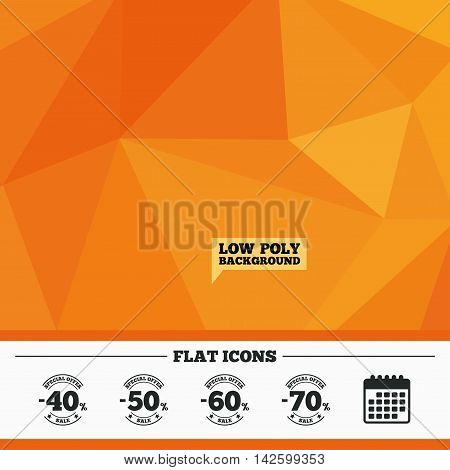 Triangular low poly orange background. Sale discount icons. Special offer stamp price signs. 40, 50, 60 and 70 percent off reduction symbols. Calendar flat icon. Vector