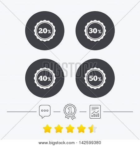 Sale discount icons. Special offer stamp price signs. 20, 30, 40 and 50 percent off reduction symbols. Chat, award medal and report linear icons. Star vote ranking. Vector