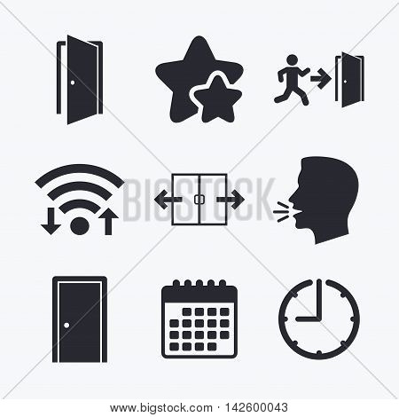 Automatic door icon. Emergency exit with human figure and arrow symbols. Fire exit signs. Wifi internet, favorite stars, calendar and clock. Talking head. Vector