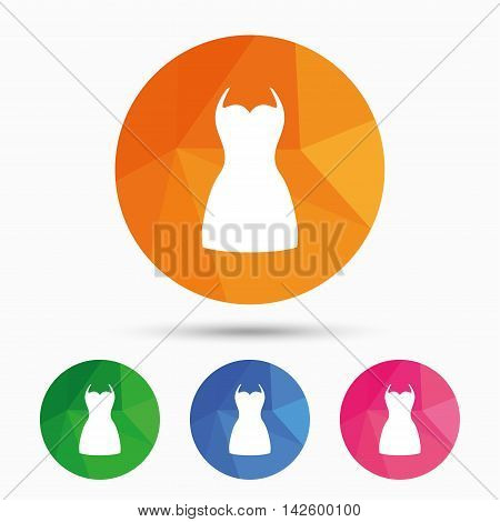 Woman dress sign icon. Elegant clothes symbol. Triangular low poly button with flat icon. Vector
