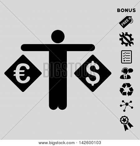Currency Trader icon with bonus pictograms. Vector illustration style is flat iconic symbols, black color, light gray background, rounded angles.