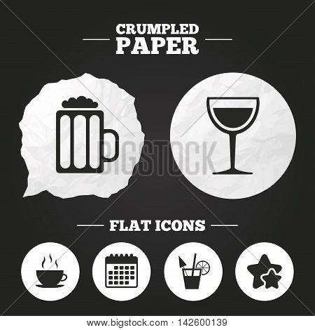 Crumpled paper speech bubble. Drinks icons. Coffee cup and glass of beer symbols. Wine glass and cocktail signs. Paper button. Vector