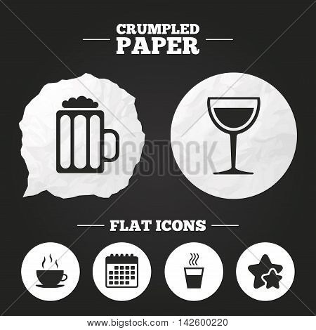 Crumpled paper speech bubble. Drinks icons. Coffee cup and glass of beer symbols. Wine glass sign. Paper button. Vector