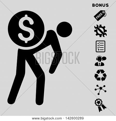 Financial Courier icon with bonus pictograms. Vector illustration style is flat iconic symbols, black color, light gray background, rounded angles.