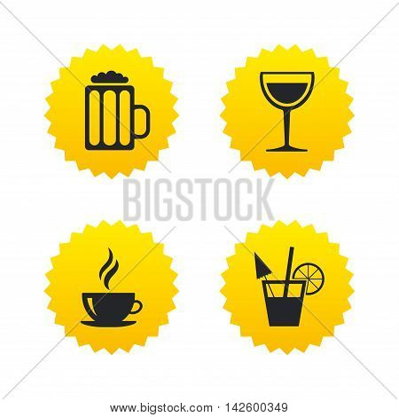 Drinks icons. Coffee cup and glass of beer symbols. Wine glass and cocktail signs. Yellow stars labels with flat icons. Vector