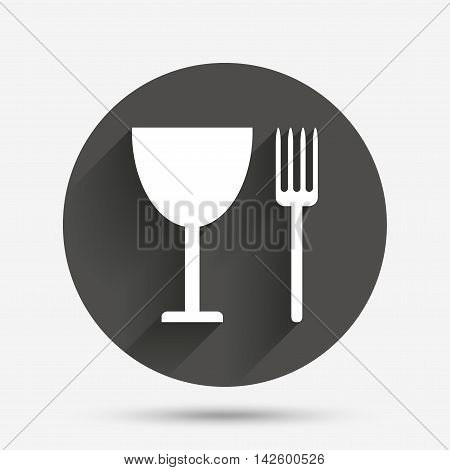 Eat sign icon. Cutlery symbol. Fork and wineglass. Circle flat button with shadow. Vector