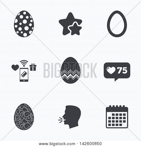 Easter eggs icons. Circles and floral patterns symbols. Tradition Pasch signs. Flat talking head, calendar icons. Stars, like counter icons. Vector