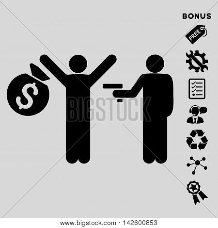 Thief Arrest icon with bonus pictograms. Vector illustration style is flat iconic symbols, black color, light gray background, rounded angles.