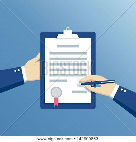 hands businessman sign a contract signing agreement business concept flat design