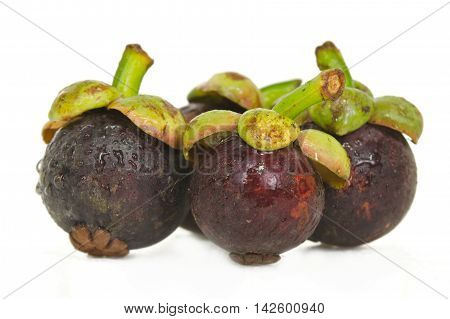 Mangosteen Fruit Grouped And Isolated On White