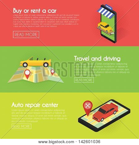 Set Car banners. Buy online auto, rental, service, sales. Isometric facade of the store concept illustration.