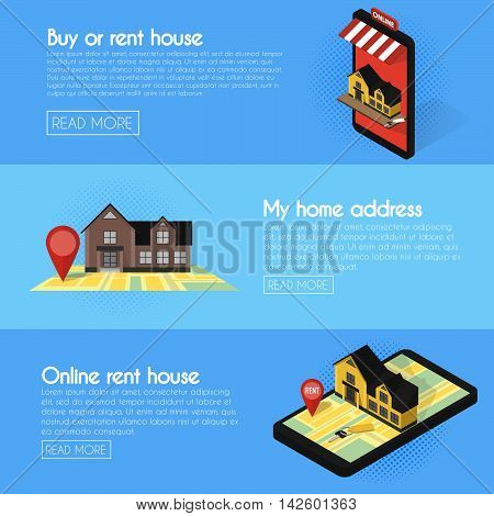 Banners set. Real estate online searching isometric flat vector concept. For Sale or Rent Showcases phone.