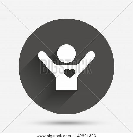 Fans love icon. Man raised hands up sign. Circle flat button with shadow. Vector