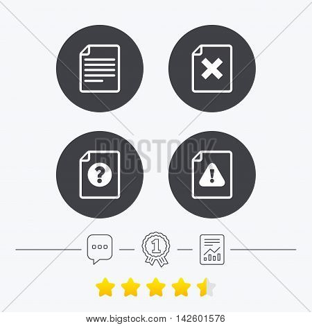 File attention icons. Document delete symbols. Question mark sign. Chat, award medal and report linear icons. Star vote ranking. Vector