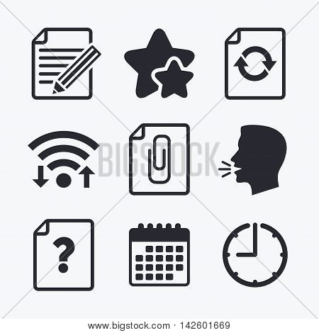 File refresh icons. Question help and pencil edit symbols. Paper clip attach sign. Wifi internet, favorite stars, calendar and clock. Talking head. Vector