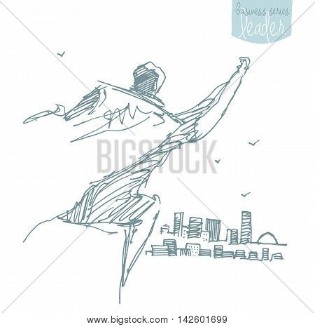 Businessman with a waving cloak. Freedom aspiration winner creativity, hero concept. Vector illustration, sketch