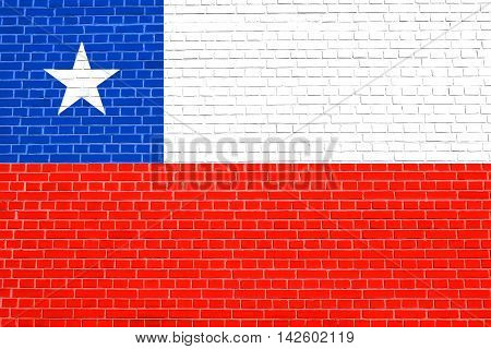 Flag of Chile on brick wall texture background. Chilean national flag. 3D illustration