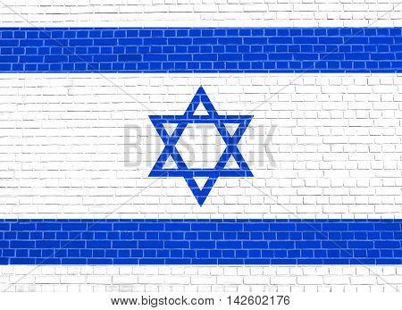 Flag of Israel on brick wall texture background. Israeli national flag. 3D illustration