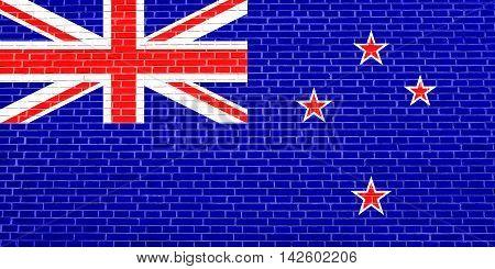 Flag of New Zealand on brick wall texture background. New Zealand national flag. 3D illustration