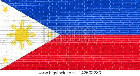 Flag of the Philippines on brick wall texture background. Philippine national flag. 3D illustration