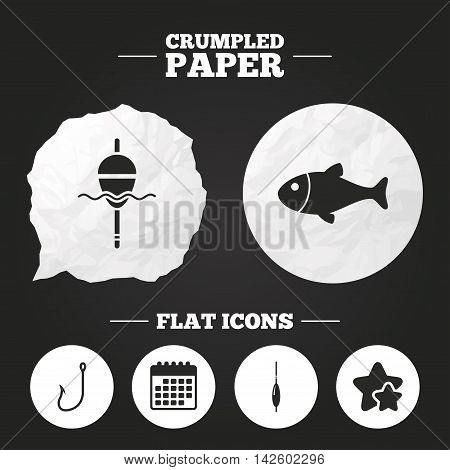 Crumpled paper speech bubble. Fishing icons. Fish with fishermen hook sign. Float bobber symbol. Paper button. Vector
