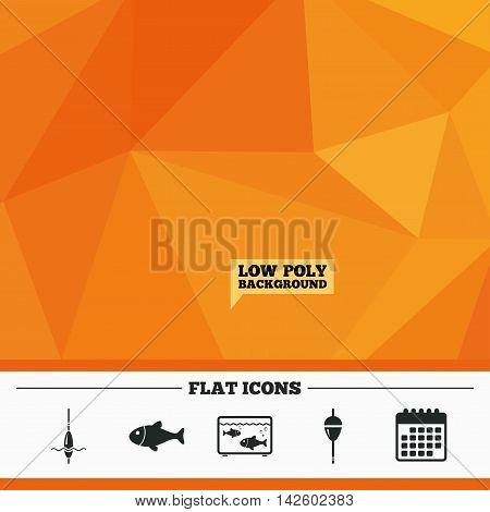 Triangular low poly orange background. Fishing icons. Fish with fishermen hook sign. Float bobber symbol. Aquarium icon. Calendar flat icon. Vector