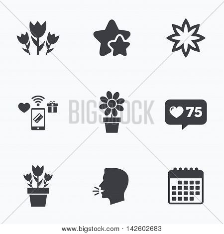 Flowers icons. Bouquet of roses symbol. Flower with petals and leaves in a pot. Flat talking head, calendar icons. Stars, like counter icons. Vector