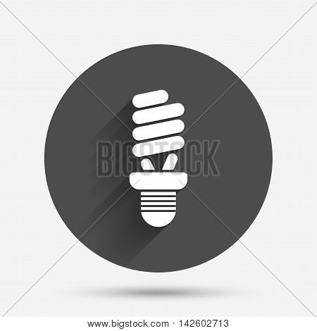 Fluorescent lamp bulb sign icon. Energy saving. Idea and success symbol. Circle flat button with shadow. Vector