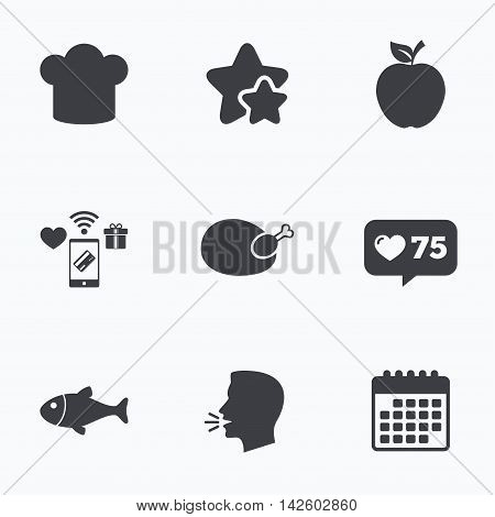 Food icons. Apple fruit with leaf symbol. Chicken hen bird meat sign. Fish and Chef hat icons. Flat talking head, calendar icons. Stars, like counter icons. Vector