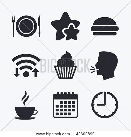 Food and drink icons. Muffin cupcake symbol. Plate dish with fork and knife sign. Hot coffee cup and hamburger. Wifi internet, favorite stars, calendar and clock. Talking head. Vector