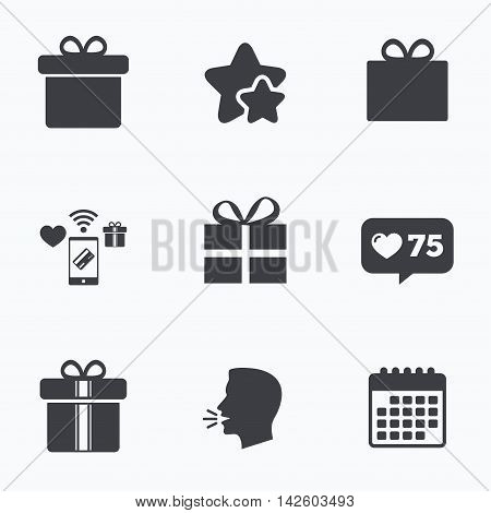 Gift box sign icons. Present with bow and ribbons sign symbols. Flat talking head, calendar icons. Stars, like counter icons. Vector