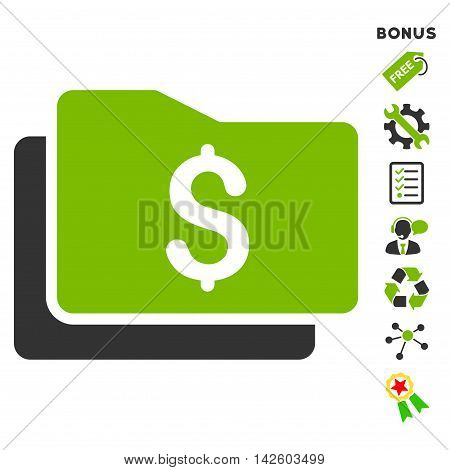 Wallet icon with bonus pictograms. Vector illustration style is flat iconic bicolor symbols, eco green and gray colors, white background, rounded angles.