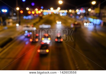 Night view at modern city crossing street Blur abstract