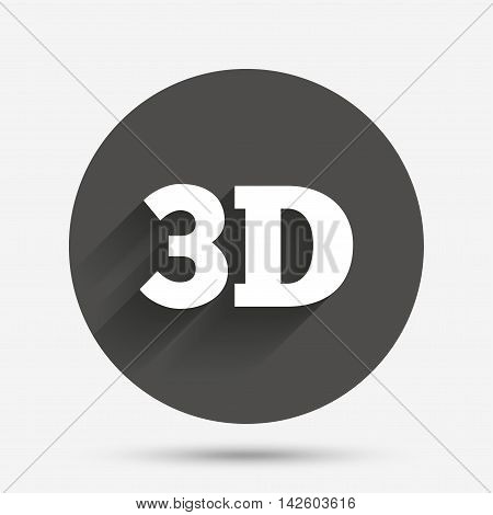 3D sign icon. 3D New technology symbol. Circle flat button with shadow. Vector