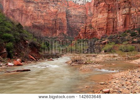 The wild and scenic North Fork of the Virgin River in Zion National Park in the state of Utah