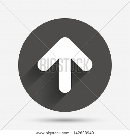 Upload sign icon. Upload button. Load symbol. Circle flat button with shadow. Vector