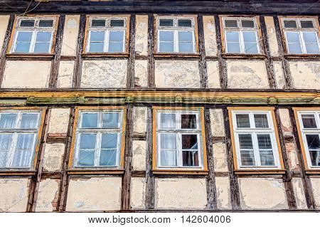 Half-timbered House Facade In Wernigerode, Germany