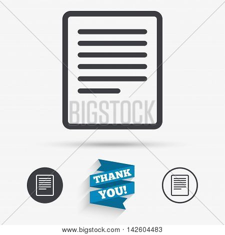 Text file sign icon. File document symbol. Flat icons. Buttons with icons. Thank you ribbon. Vector