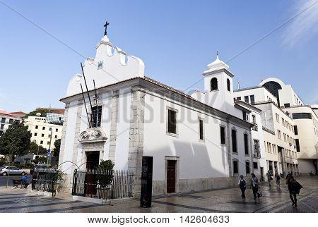 LISBON, PORTUGAL - September 25, 2015: The little Church of Senhora da Saude built in 1505 in Martim Moniz Square on September 25, 2015 in Lisbon, Portugal