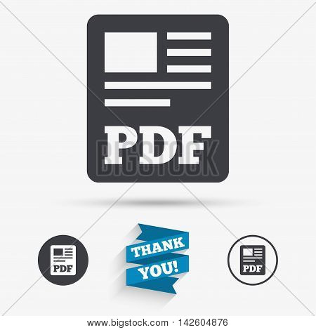PDF file document icon. Download pdf button. PDF file symbol. Flat icons. Buttons with icons. Thank you ribbon. Vector
