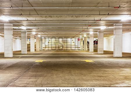 View Down The Length Of An Empty Parking Garage