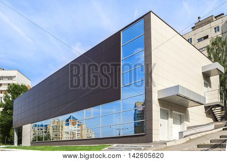 Modern commercial building. City Cheboksary Chuvash Republic Russia. 08/13/2016