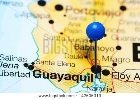 Guayaquil pinned on a map of Ecuador