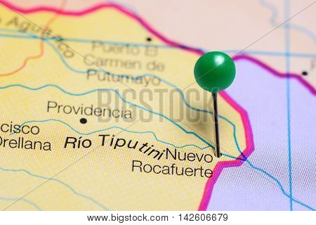 Nuevo Rocafuerte pinned on a map of Ecuador