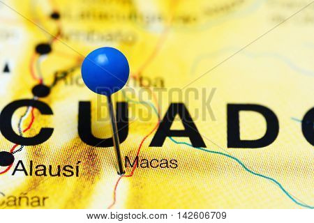 Macas pinned on a map of Ecuador