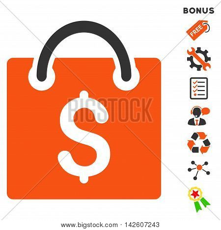 Shopping Bag icon with bonus pictograms. Vector illustration style is flat iconic bicolor symbols, orange and gray colors, white background, rounded angles.