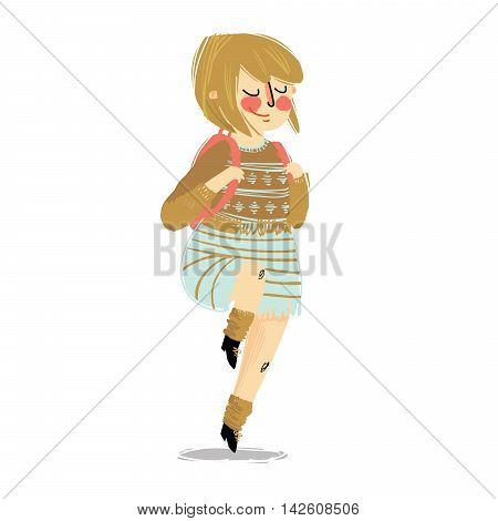 Illustration Featuring a Girl Carrying a Backpack. Go to school