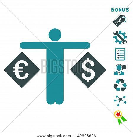 Currency Trader icon with bonus pictograms. Vector illustration style is flat iconic bicolor symbols, soft blue colors, white background, rounded angles.